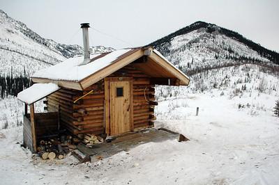 WHITE MOUNTAINS, ALASKA. Caribu Bluff Cabin