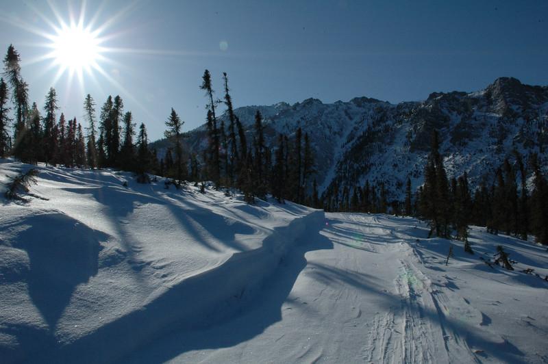 WHITE MOUNTAINS, ALASKA. Into the sun, along the trail.