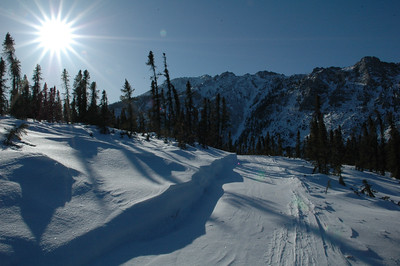 WHITE MOUNTAINS, ALASKA. Into the sun, along the trail.