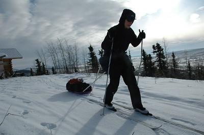WHITE MOUNTAINS, ALASKA. Departing Elezar's Cabin.