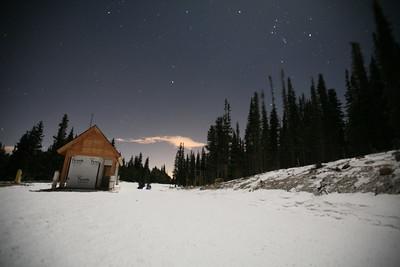 BRAINARD LAKE, CO - Full moon snowshoeing.