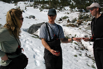 Peter reviews with the group the use of the avalanche beacons we're carrying.