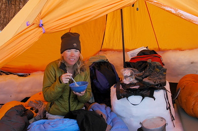 The next morning, Teri, with her tan cheeks and goggle eyes, works her way through a hardy bowl of oatmeal while still in bed. Eat up... it's going to be a big day.