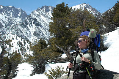Teri mastered the method of resting her pack on a rock. This method is good for taking in the view.