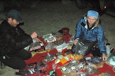 Teri was astonished with all the food Peter and I had brought... so, they culled it down somewhat and divided it up for each of us to carry.