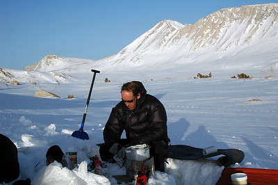 Daniel digs out a kitchen and gets going on dinner and hot drinks for the group. Our track from  Shepherd's Pass is in the background.