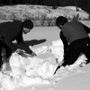 Alex and Joel dig a snow pit