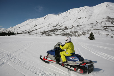 TURNAGAIN PASS, AK - Snowmachine tour with Alaska Backcountry Access.