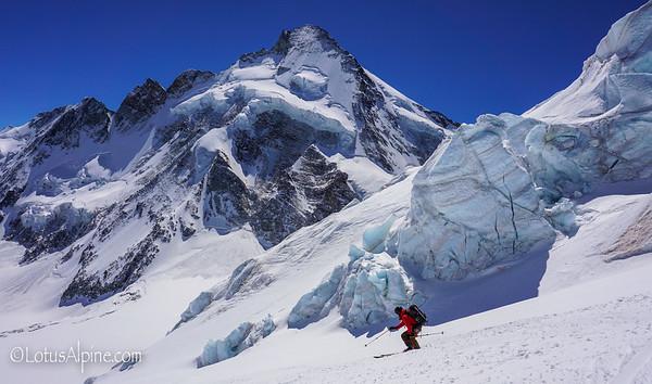 Skiing amongst the seracs of the Zmutt Glacier....Zermatt, Switzerland
