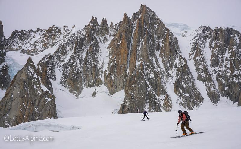Frozen ski conditions beneath an alpine climbers paradise....Mont Blanc Massif, Chamonix France