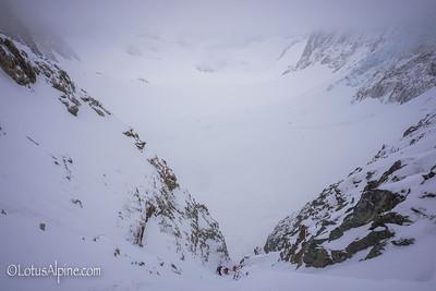 Finishing the rappels off the backside of the Col du Chardonnet....Haute Route Ski Tour, European Alps