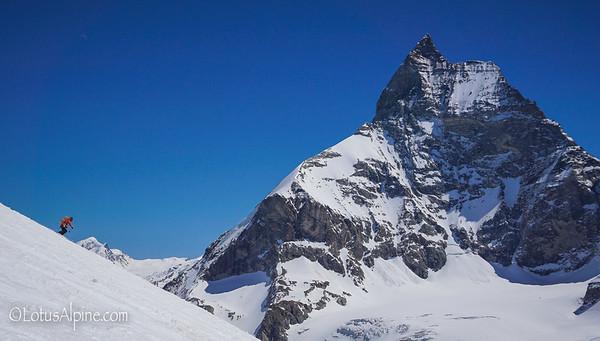 Making turns below the watchful eye of the mighty Matterhorn....Zermatt, Switzerland