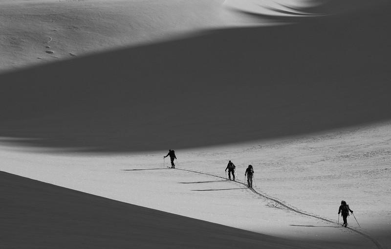skiers approaching Mont Durand, Wallis, Swiss alps