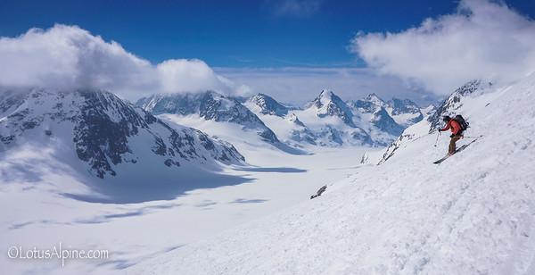 Spring turns on the way to the Vignette Hut....Haute Route Ski Tour, European Alps
