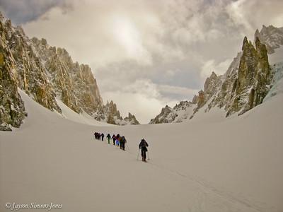 Ski Touring to the Col du Chardonnet....Argentierre Basin, France
