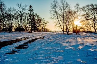 Winter sunrise in Minnehaha County in South Dakota. Enjoy and hold hands.