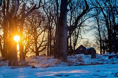 Sunrise through the trees South Dakota. Enjoy and hold hands.