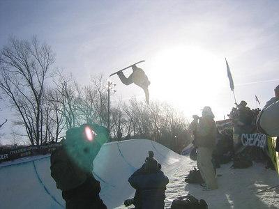Mountain Creek Grand Prix  - silhouette of rider in the pipe