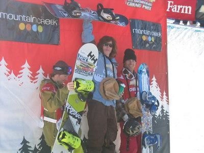Mountain Creek Grand Prix podium Jan. 2006 (l to r) Steve Fisher, Shaun White, Andy Finch