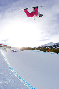 Elena Hight in the pipe at the Chevrolet US Snowboard Grand Prix. Breckenridge, Colorado. Dec. 2006