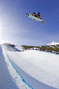 Mason Aguirre in the halfpipe, Breckenridge, Colorado at the Chevrolet US Snowboard Grand Prix. Dec. 2006
