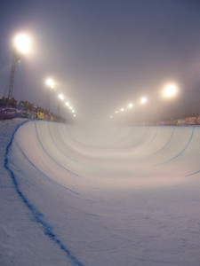 The fog closed down the halfpipe competition Saturday at the Chevy U.S. Snowboarding Grand Prix. Photo: Lindsey Sine/U.S. Snowboarding