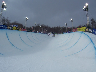 The halfpipe looking clear on Sunday at the Chevy U.S. Snowboarding Grand Prix. Photo: Lindsey Sine/U.S. Snowboarding