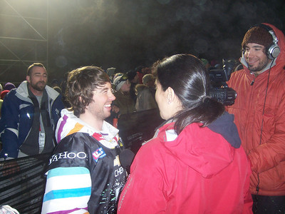 Steve Fisher (Breckenridge, CO) does an interview. Photo: Lindsey Sine/U.S. Snowboarding