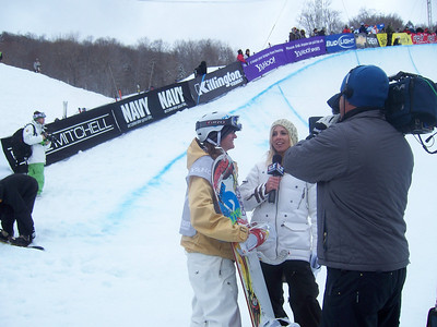 Kelly Clark (West Dover, VT) does an interview after nailing her run. Photo: Lindsey Sine/U.S. Snowboarding