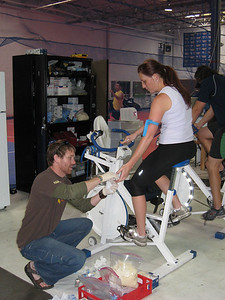 Team physiologist Justin Carlstrom works with U.S. Snowboarding's Lindsay Lloyd (credit: U.S. Snowboarding)