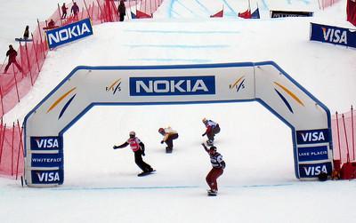 Nick Baumgartner (Iron River,  MI) crosses the finish line to win the Visa U.S. Snowboarding Cup, Lake Placid, NY Photo: Doug Haney/U.S. Snowboarding