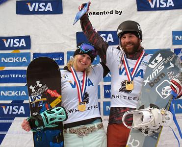 Lindsey Jacobellis (Stratton Mountain, VT) and Nick Baumgartner (Iron River, MI) show off their medals at the Visa U.S. Snowboarding Cup, Lake Placid, NY Photo: Doug Haney/U.S. Snowboarding
