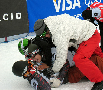 Teammates swarm over Nick Baumgartner (Iron River, MI) after he won the Visa U.S. Snowboarding Cup, Lake Placid, NY Photo: Doug Haney/U.S. Snowboarding