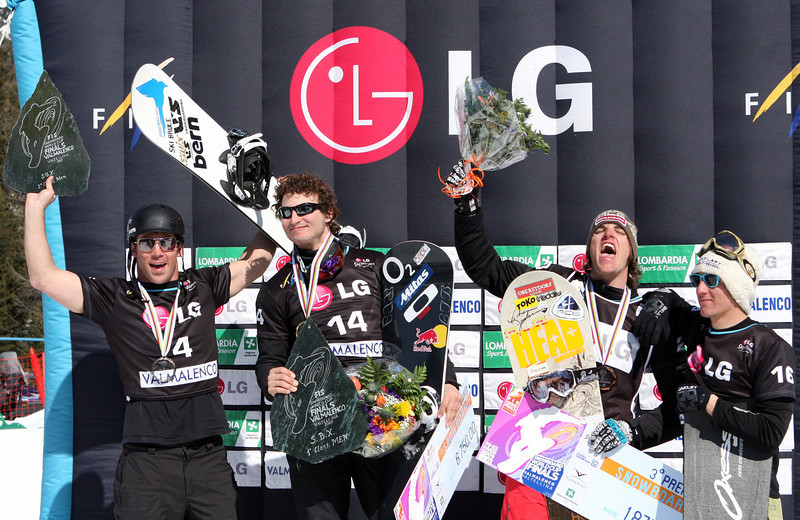 Nick Baumgartner (far left) Photo ©Oliver Kraus - FIS. Image may be used for editorial use only.