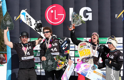 Nick Baumgartner (far left) Photo © Oliver Kraus - FIS. Image may be used for editorial use only.