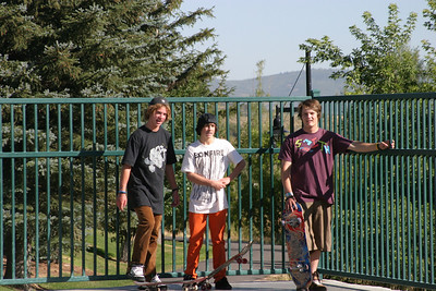 U.S. Snowboarding Rookies enjoy a morning at the skate park Broc Warring, Matt Ladley, Dylan Bidez Photo: Katie Perhai/U.S. Snowboarding