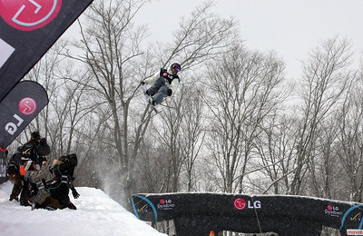 Halfpipe qualifiers of the 2009 LG Snowboard FIS World Cup  in Stoneham, Canada. Zach Black  Photo © FIS – Oliver Kraus Photo may be used for editorial use only.