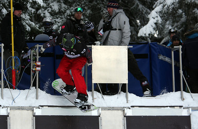 U.S. Snowboarding's Nate Holland starts a preliminary heat of the 2009 LG Snowboard FIS World Cup at Cypress Mountain, BC. Images in this gallery may be used for editorial use only and photographer must be credited. Photo © FIS – Oliver Kraus