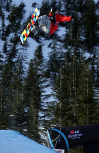 U.S. Snowboarding's Steve Fisher competes in the qualification round of the 2009 LG Snowboard FIS World Cup at Cypress Mountain, BC. Images in this gallery may be used for editorial use only and photographer must be credited. Photo © FIS – Oliver Kraus