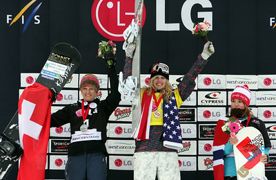 U.S. Snowboarding's Lindsey Jacobellis finishes first at the 2009 LG Snowboard FIS World Cup at Cypress Mountain, BC. Images in this gallery may be used for editorial use only and photographer must be credited. Photo © FIS – Oliver Kraus