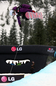 U.S. Snowboarding's Ellery Hollingsworth competes in the finals of the 2009 LG Snowboard FIS World Cup at Cypress Mountain, BC. Images in this gallery may be used for editorial use only and photographer must be credited. Photo © FIS – Oliver Kraus