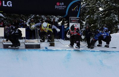 U.S. Snowboarding's Graham Watanabe and Nick Baumgartner compete in a preliminary heat of the 2009 LG Snowboard FIS World Cup at Cypress Mountain, BC. Images in this gallery may be used for editorial use only and photographer must be credited. Photo © FIS – Oliver Kraus