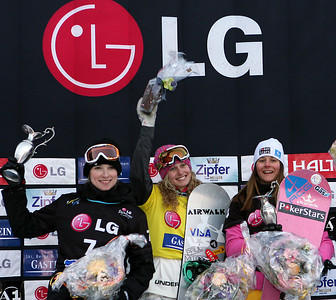Winner Lindsey Jacobellis highlights the women's podium in the LG FIS Snowboard World Cup SBX in Bad Gastein, Austria. Images in this gallery may be used only for editorial use and photographer must be credited  Photo © FIS – Oliver Kraus