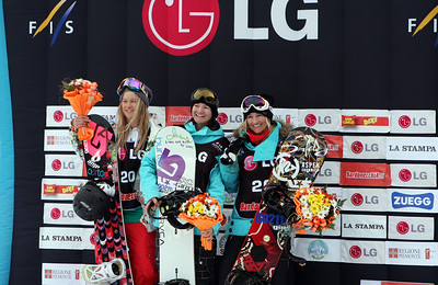 Women's podium from the 2009 LG Snowboard FIS World Cup in Bardonecchia, Italy. Images in this gallery may be used only for editorial use and photographer must be credited  Photo © FIS – Oliver Kraus