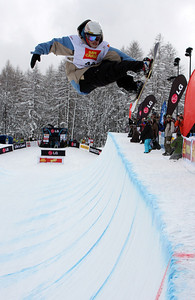 Dylan Bidez competes at the 2009 LG Snowboard FIS World Cup in Bardonecchia, Italy. Images in this gallery may be used only for editorial use and photographer must be credited  Photo © FIS – Oliver Kraus