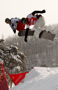 GANGWON, Korea, Jan. 18 Snowboardcross Word Championships Xavier Delerue FRA (right), Nate Holland (left) Photo © Agence Zoom Images in this gallery may be used only for editorial use and photographer must be credited