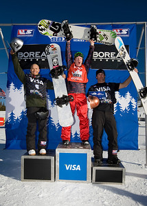 Nate Holland, Graham Watanabe, Nick Baumgartner  U.S. Snowboarding Grand Prix at Boreal  Photo © Tom Zikas