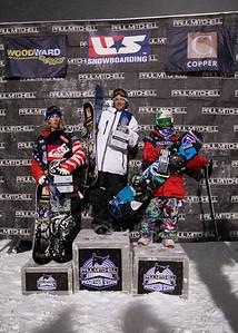 Mens podium Photo ©Tom Zikas  U.S. Snowboarding Grand Prix  December 12–13, 2008