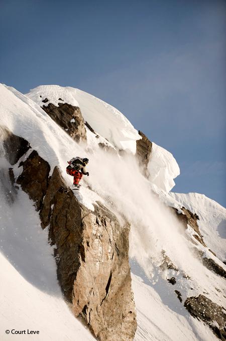 Skiing images of Seth Wescott shot for Warren Miller Entertainment. Chugach Mtns, AK.   Photo © Court Leve