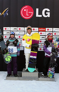 Women's podium 2009 LG Snowboarding World Cup in Cardrona  Photo © Oliver Kraus  Image may be used for editorial use only